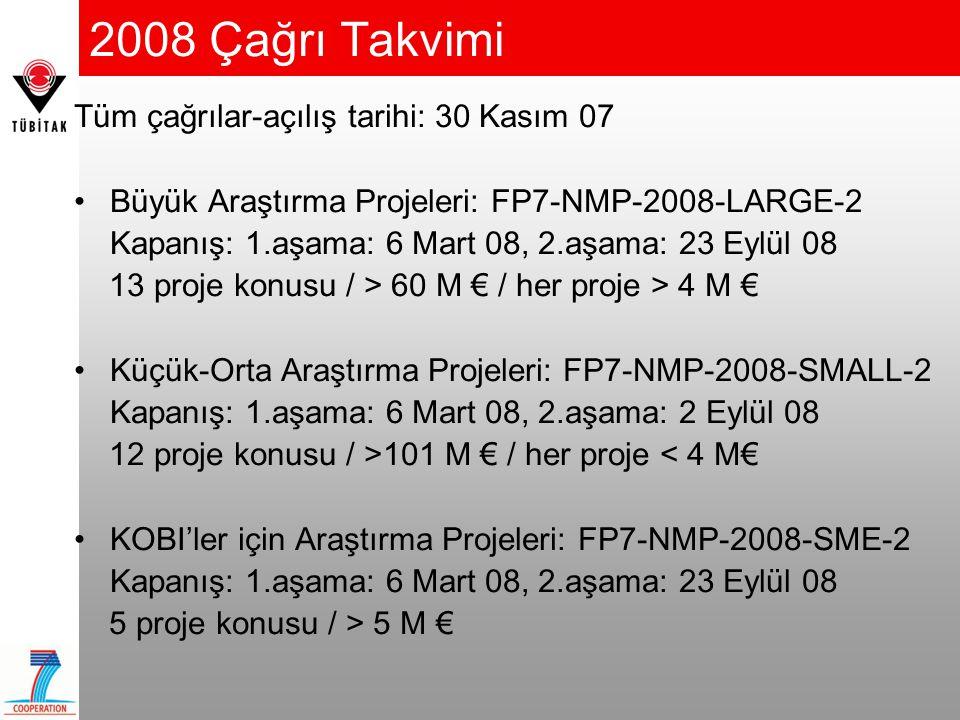 2008 Çağrı Takvimi Tüm çağrılar-açılış tarihi: 30 Kasım 07