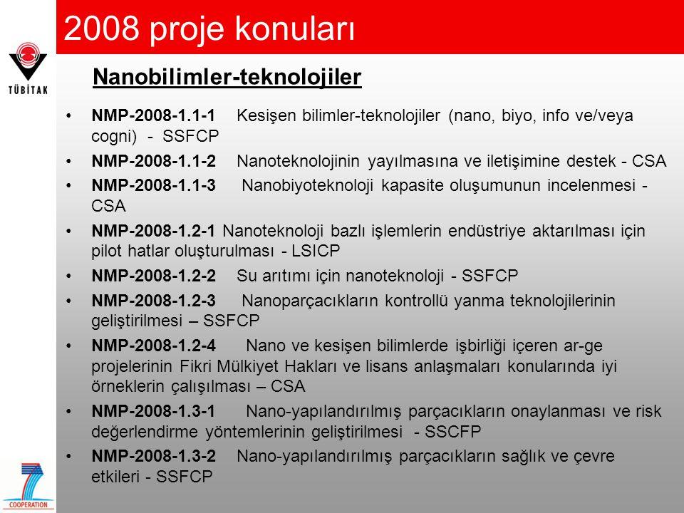 2008 proje konuları Nanobilimler-teknolojiler