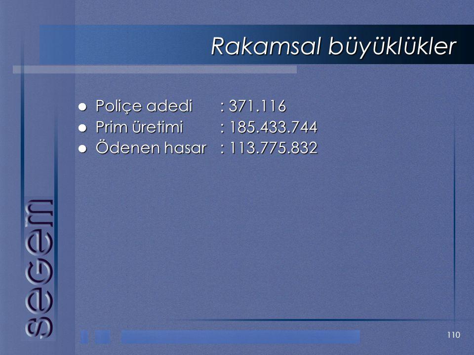 Rakamsal büyüklükler Poliçe adedi : 371.116 Prim üretimi : 185.433.744