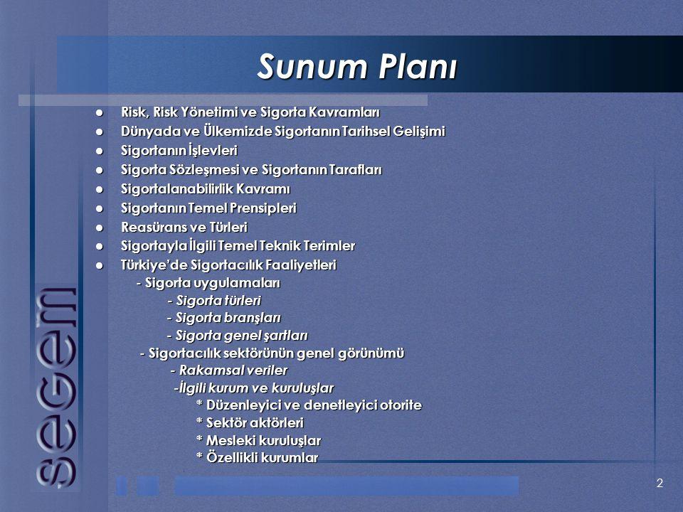 Sunum Planı Risk, Risk Yönetimi ve Sigorta Kavramları