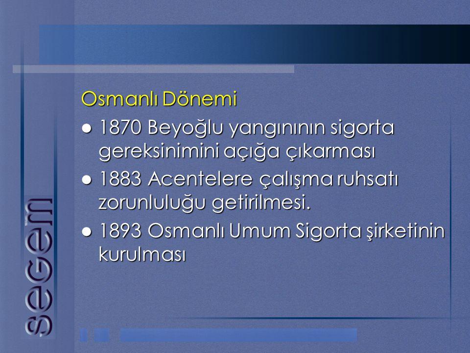 Osmanlı Dönemi 1870 Beyoğlu yangınının sigorta gereksinimini açığa çıkarması. 1883 Acentelere çalışma ruhsatı zorunluluğu getirilmesi.
