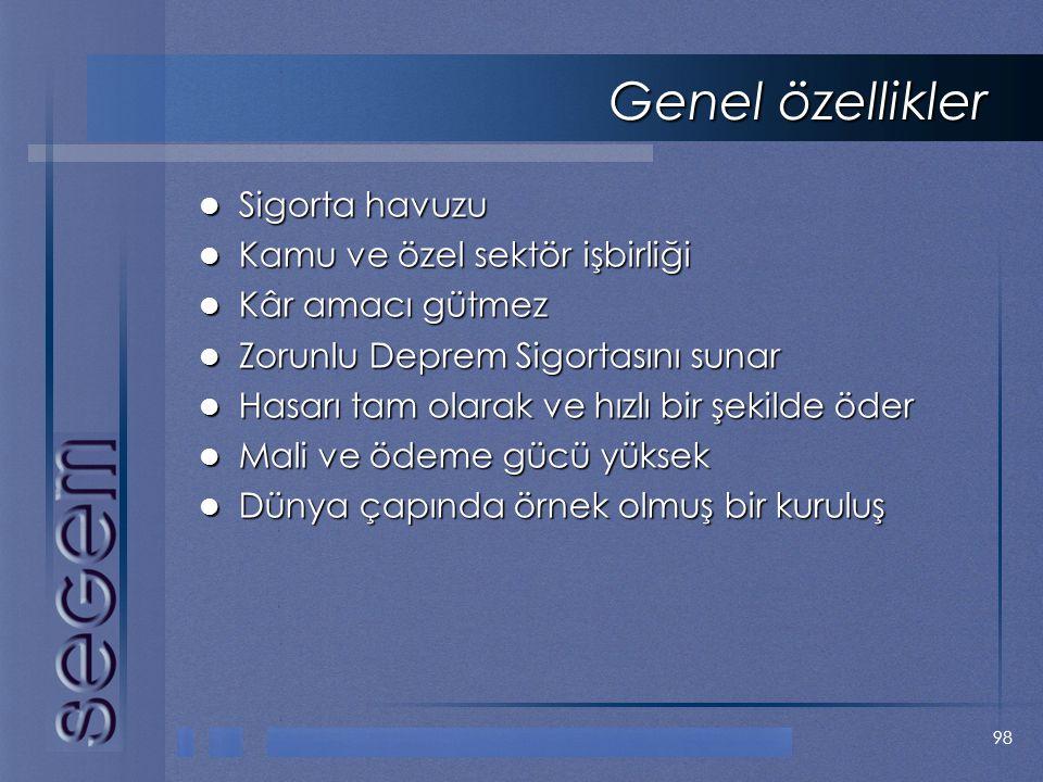 Genel özellikler Sigorta havuzu Kamu ve özel sektör işbirliği