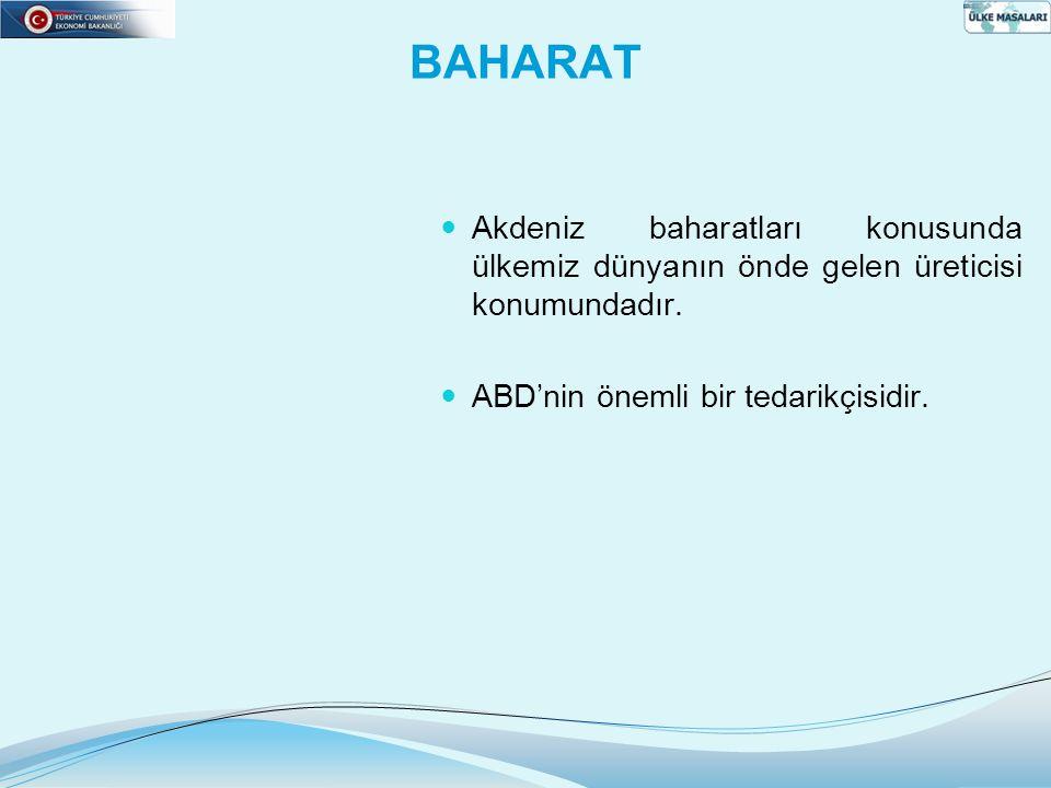 BAHARAT Akdeniz baharatları konusunda ülkemiz dünyanın önde gelen üreticisi konumundadır.