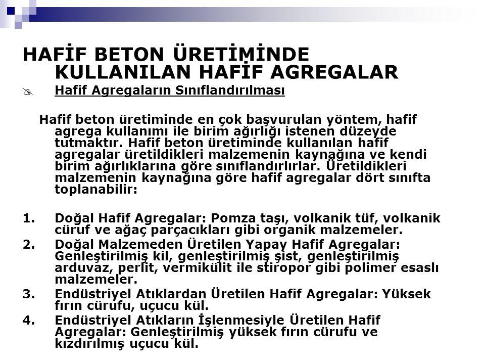 HAFİF BETON ÜRETİMİNDE KULLANILAN HAFİF AGREGALAR
