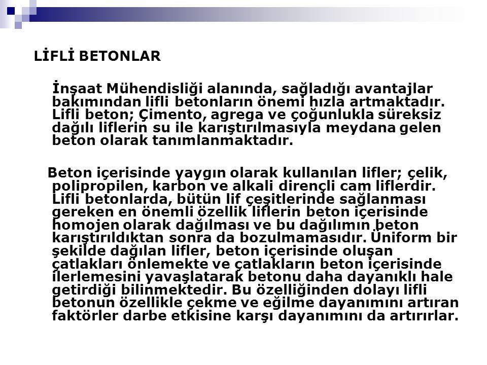 LİFLİ BETONLAR