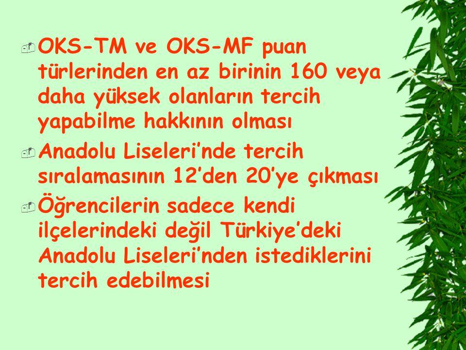 OKS-TM ve OKS-MF puan türlerinden en az birinin 160 veya daha yüksek olanların tercih yapabilme hakkının olması