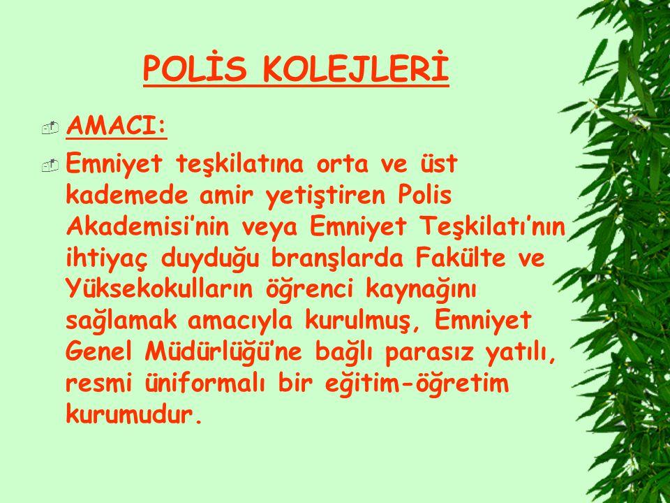 POLİS KOLEJLERİ AMACI: