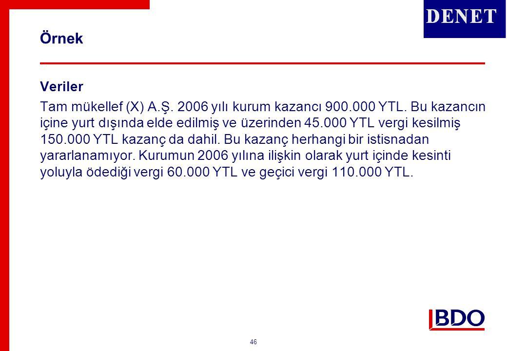 Örnek (Çözüm) (900.000 x % 20) Yurt dışında ödenen 30.000