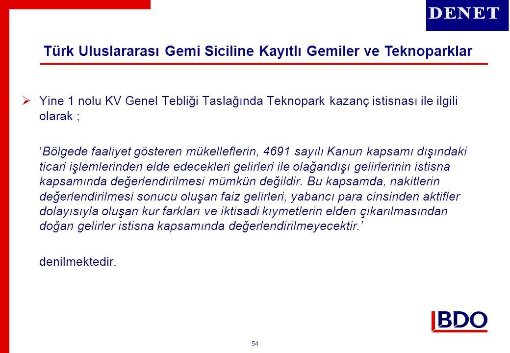 Türk Uluslararası Gemi Siciline Kayıtlı Gemiler ve Teknoparklar