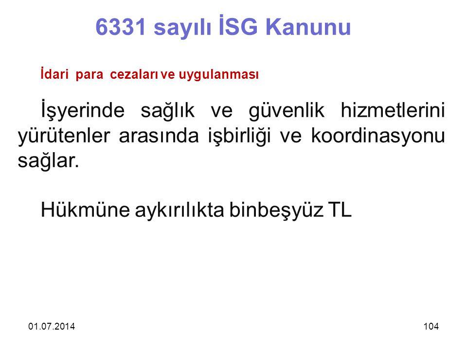 6331 sayılı İSG Kanunu İdari para cezaları ve uygulanması.