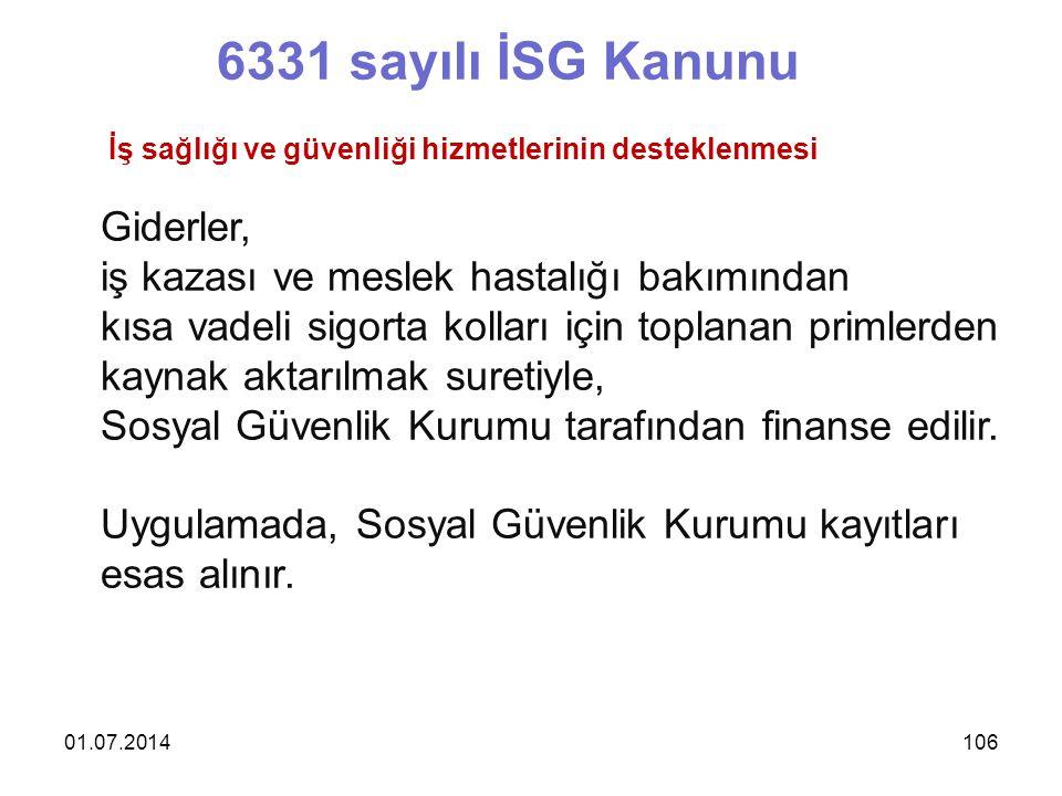6331 sayılı İSG Kanunu Giderler,