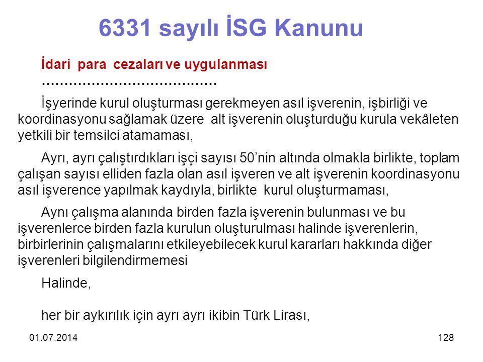 6331 sayılı İSG Kanunu İdari para cezaları ve uygulanması