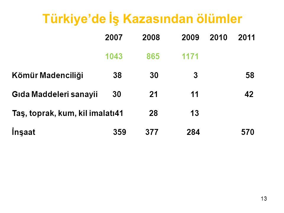 Türkiye'de İş Kazasından ölümler