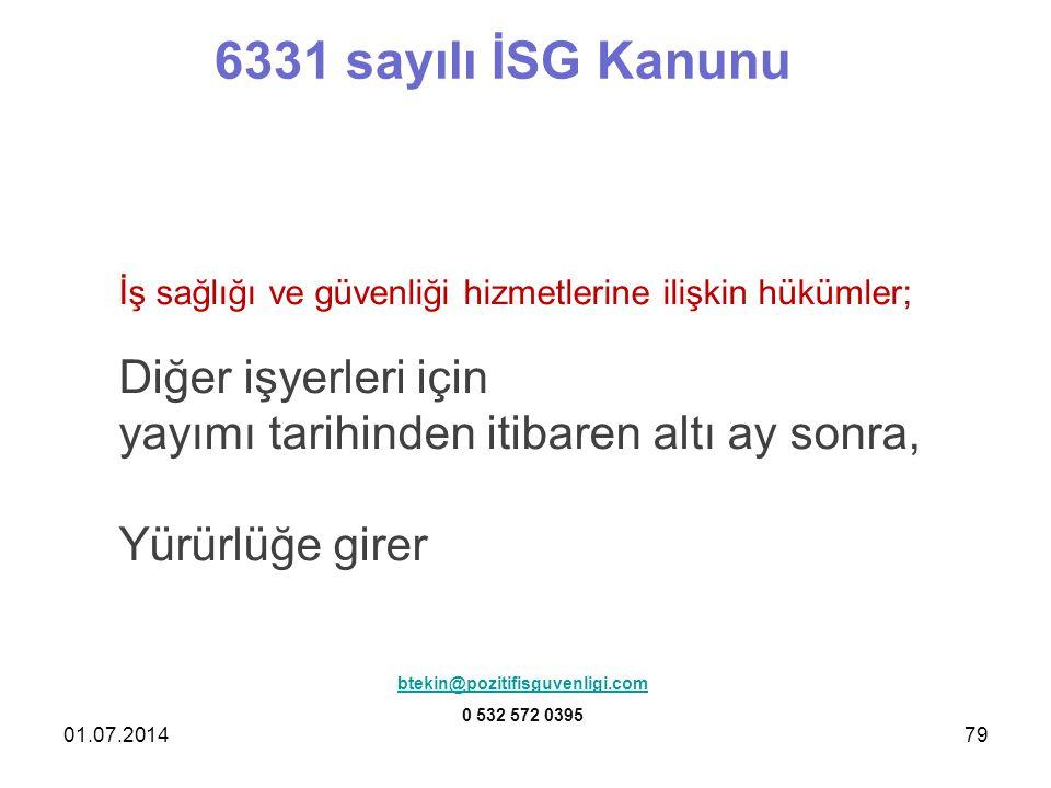 6331 sayılı İSG Kanunu Diğer işyerleri için