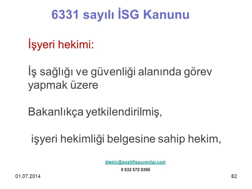 6331 sayılı İSG Kanunu İşyeri hekimi: