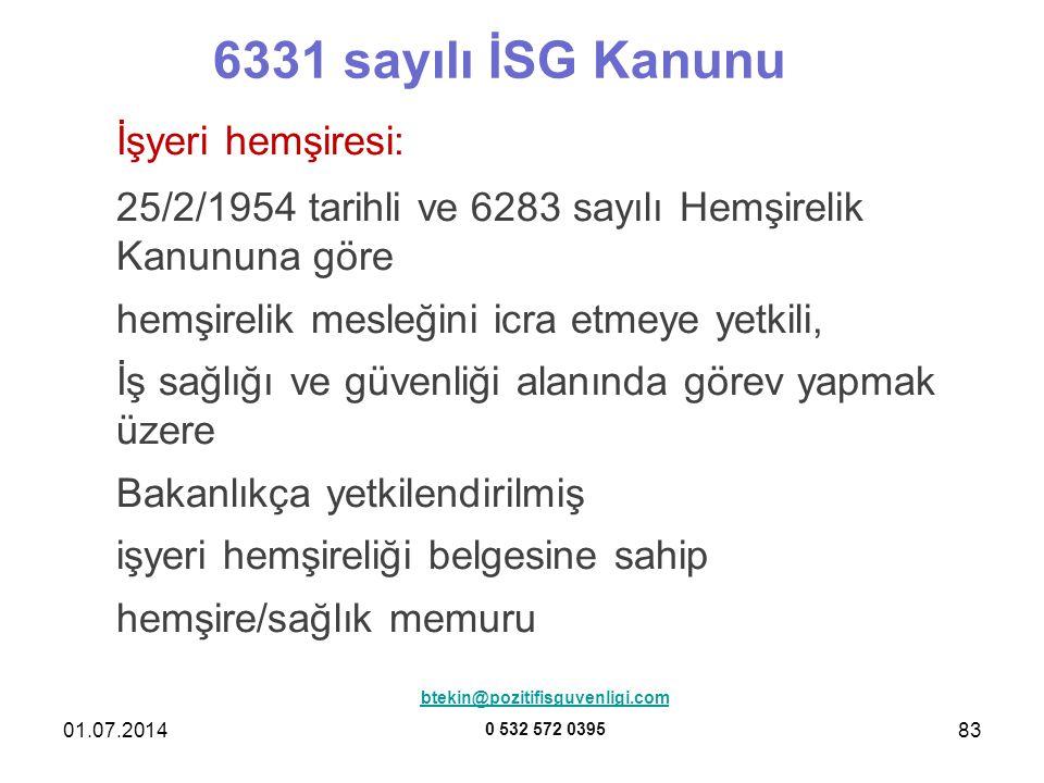 6331 sayılı İSG Kanunu İşyeri hemşiresi: