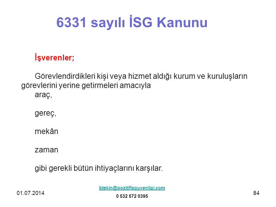6331 sayılı İSG Kanunu İşverenler;