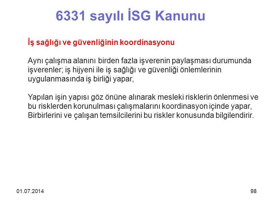 6331 sayılı İSG Kanunu İş sağlığı ve güvenliğinin koordinasyonu