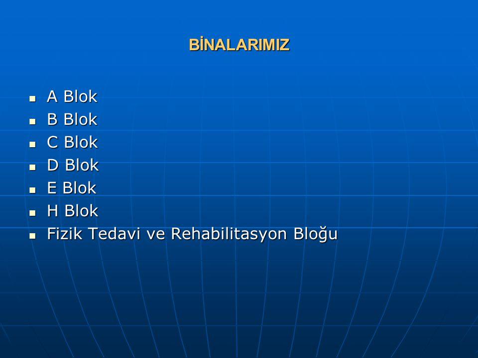 BİNALARIMIZ A Blok B Blok C Blok D Blok E Blok H Blok Fizik Tedavi ve Rehabilitasyon Bloğu