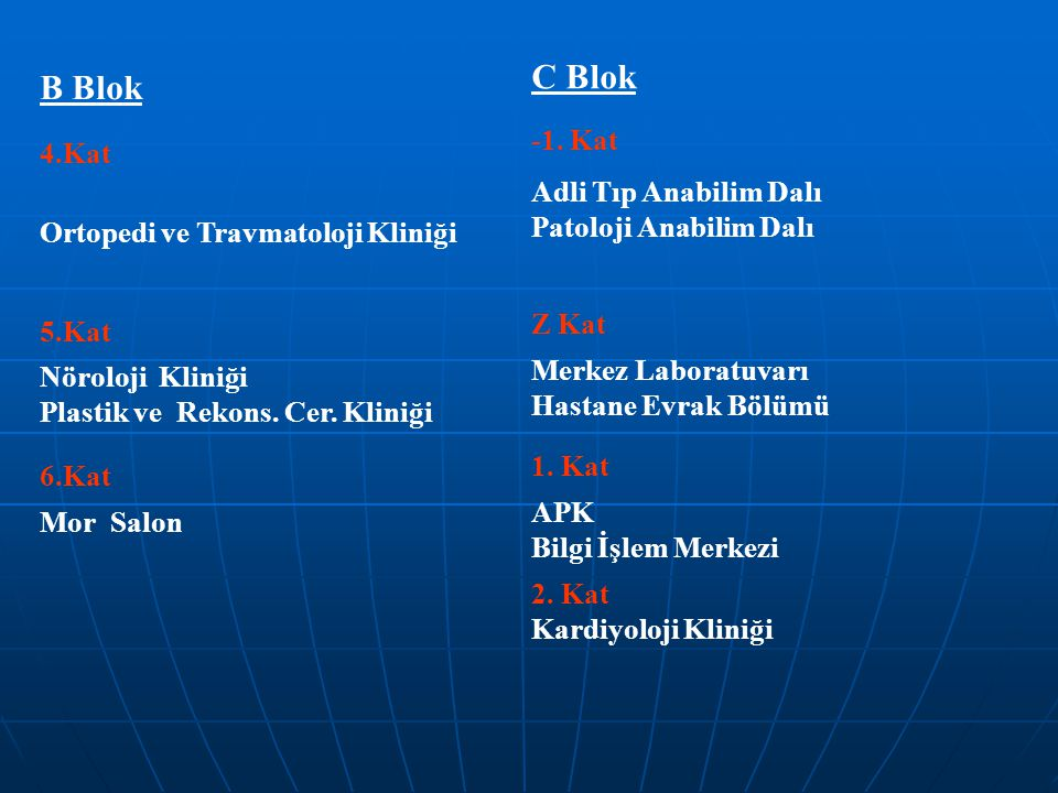 C Blok B Blok Adli Tıp Anabilim Dalı -1. Kat 4.Kat