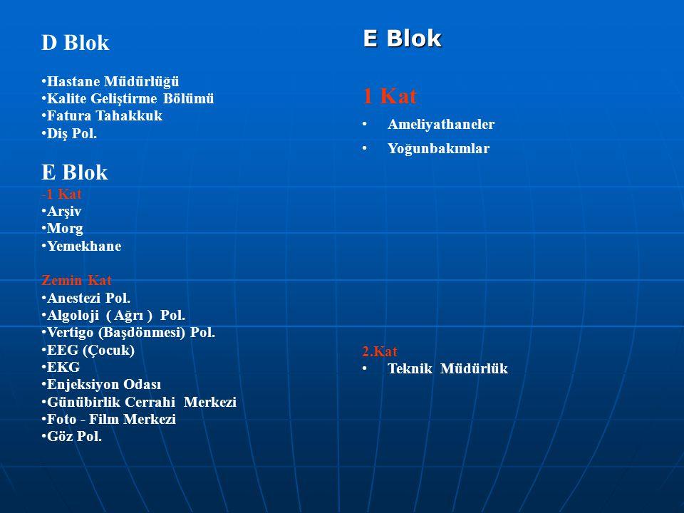 D Blok E Blok E Blok 1 Kat Hastane Müdürlüğü Kalite Geliştirme Bölümü