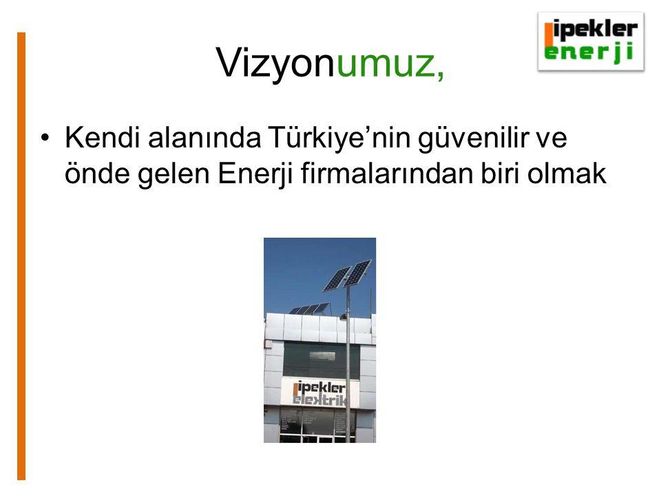 Vizyonumuz, Kendi alanında Türkiye'nin güvenilir ve önde gelen Enerji firmalarından biri olmak