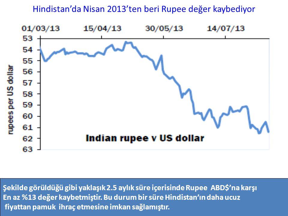 Hindistan'da Nisan 2013'ten beri Rupee değer kaybediyor