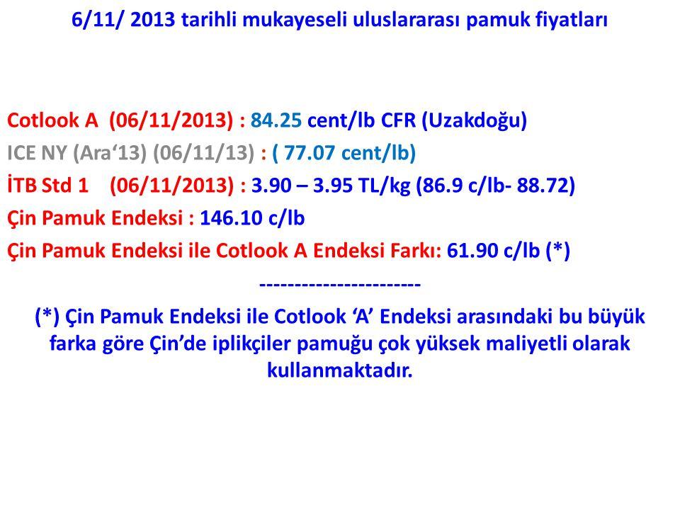 6/11/ 2013 tarihli mukayeseli uluslararası pamuk fiyatları