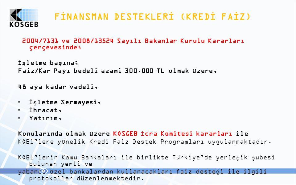 FİNANSMAN DESTEKLERİ (KREDİ FAİZ)