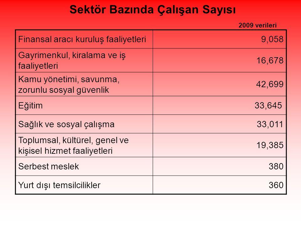 Sektör Bazında Çalışan Sayısı 2009 verileri