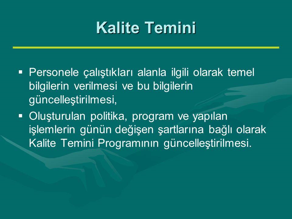Kalite Temini Personele çalıştıkları alanla ilgili olarak temel bilgilerin verilmesi ve bu bilgilerin güncelleştirilmesi,