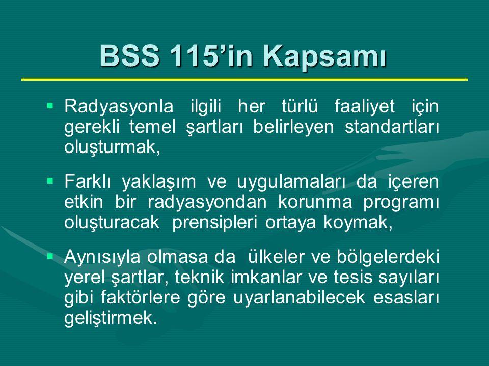 BSS 115'in Kapsamı Radyasyonla ilgili her türlü faaliyet için gerekli temel şartları belirleyen standartları oluşturmak,
