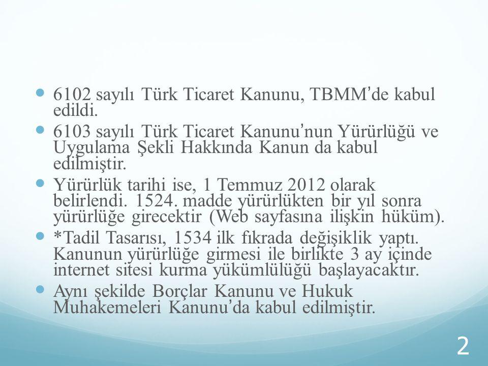 6102 sayılı Türk Ticaret Kanunu, TBMM'de kabul edildi.