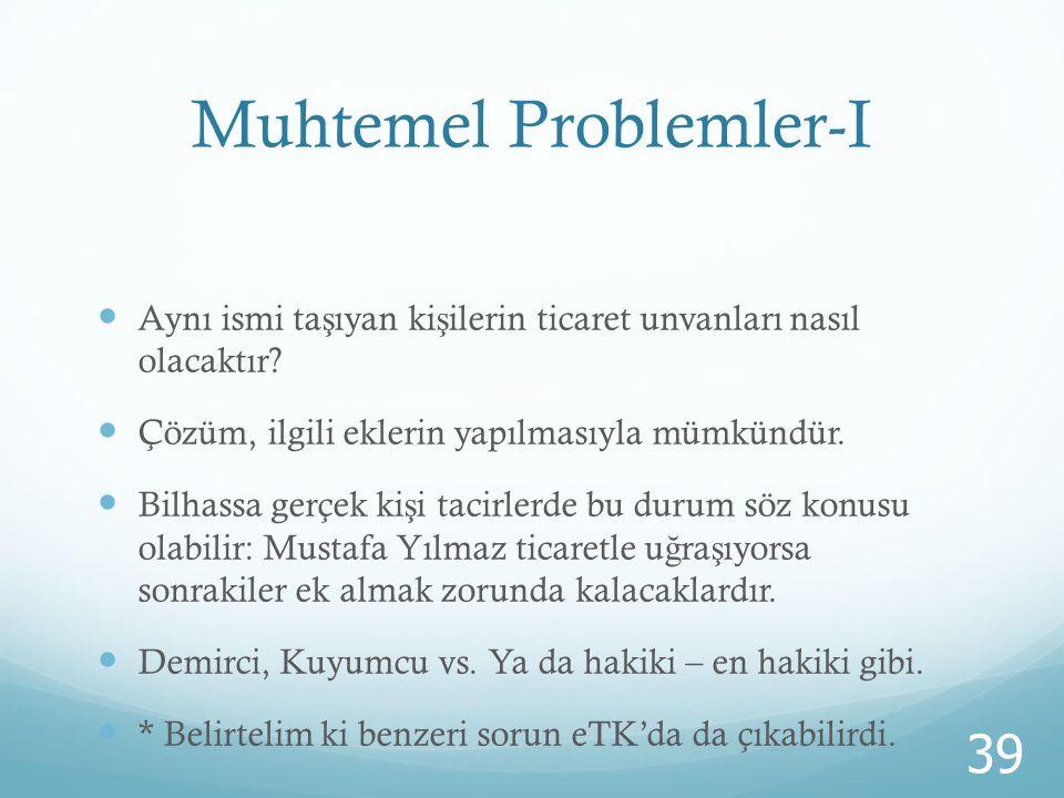 Muhtemel Problemler-I