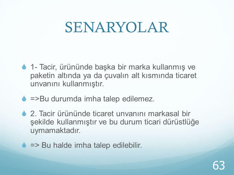 SENARYOLAR 1- Tacir, ürününde başka bir marka kullanmış ve paketin altında ya da çuvalın alt kısmında ticaret unvanını kullanmıştır.