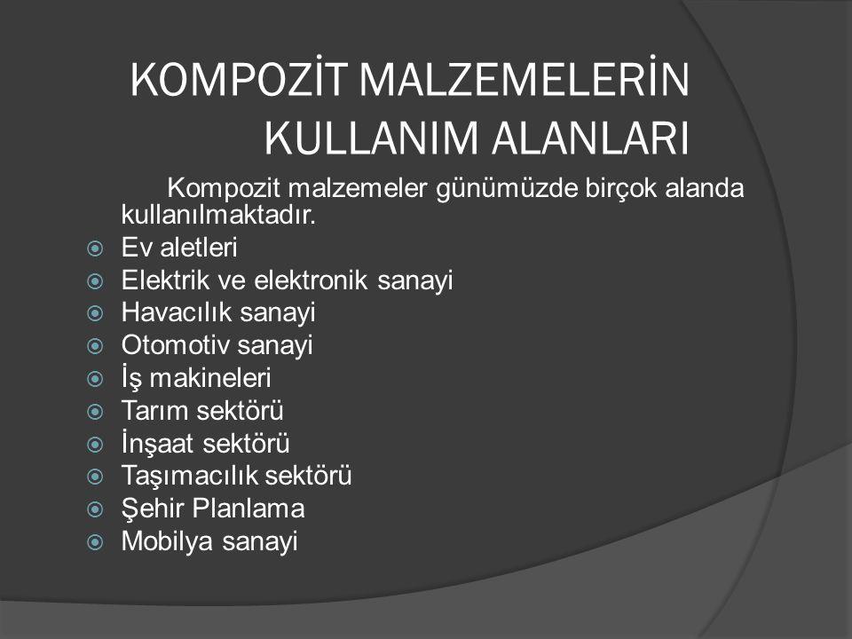 KOMPOZİT MALZEMELERİN KULLANIM ALANLARI