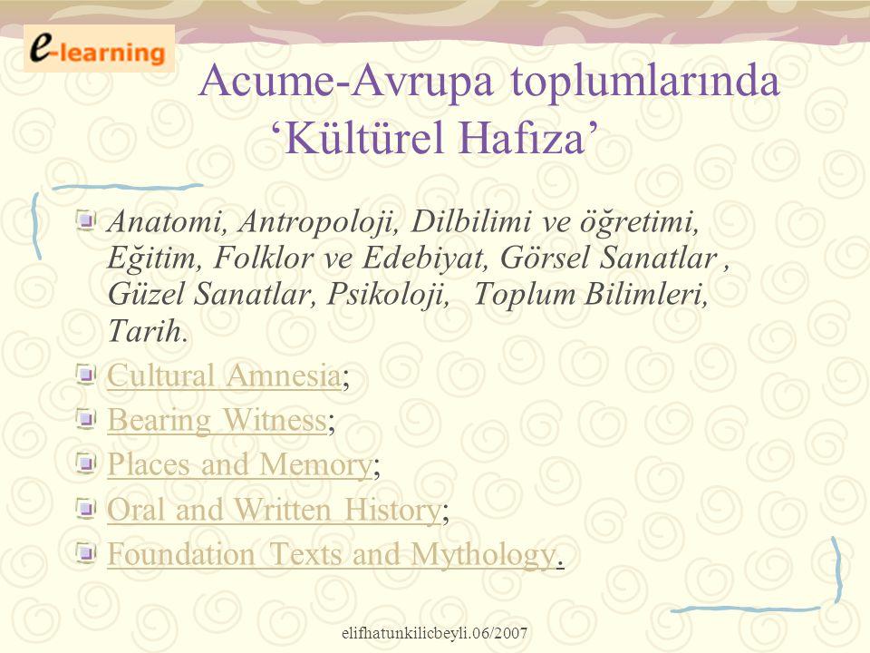 Acume-Avrupa toplumlarında 'Kültürel Hafıza'