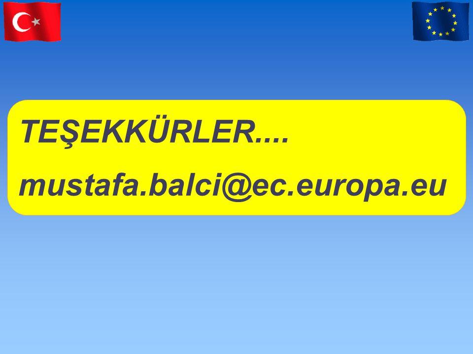 TEŞEKKÜRLER.... mustafa.balci@ec.europa.eu