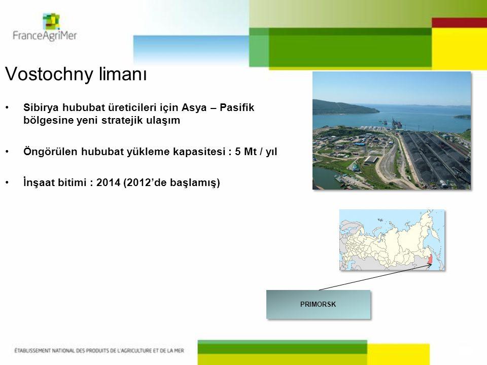 Vostochny limanı Sibirya hububat üreticileri için Asya – Pasifik bölgesine yeni stratejik ulaşım. Öngörülen hububat yükleme kapasitesi : 5 Mt / yıl.