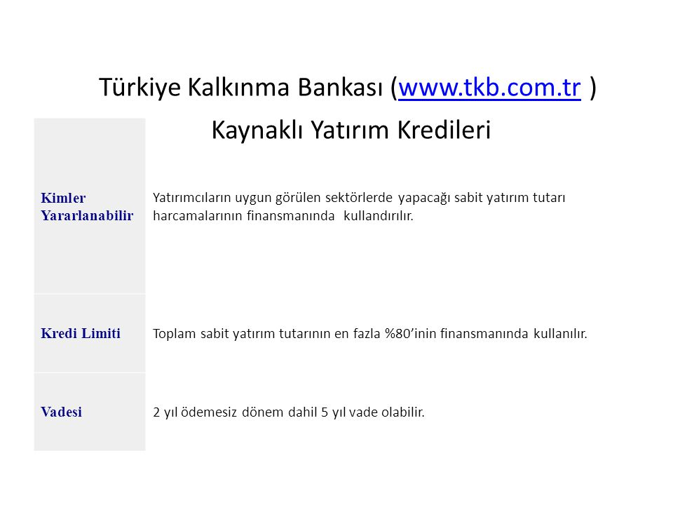 Türkiye Kalkınma Bankası (www.tkb.com.tr ) Kaynaklı Yatırım Kredileri