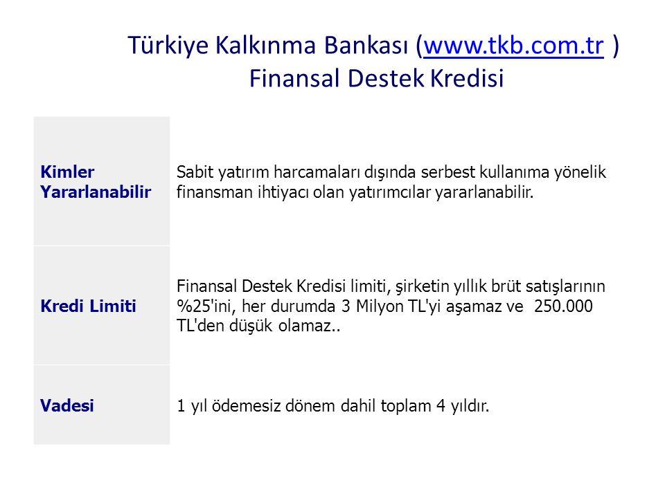 Türkiye Kalkınma Bankası (www.tkb.com.tr ) Finansal Destek Kredisi