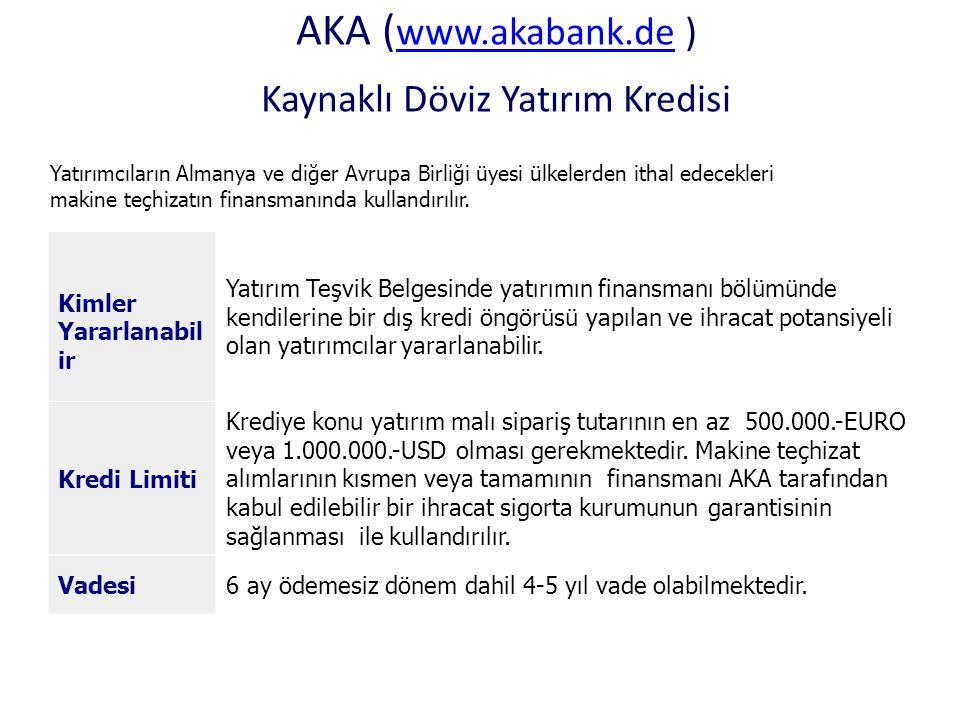 AKA (www.akabank.de ) Kaynaklı Döviz Yatırım Kredisi