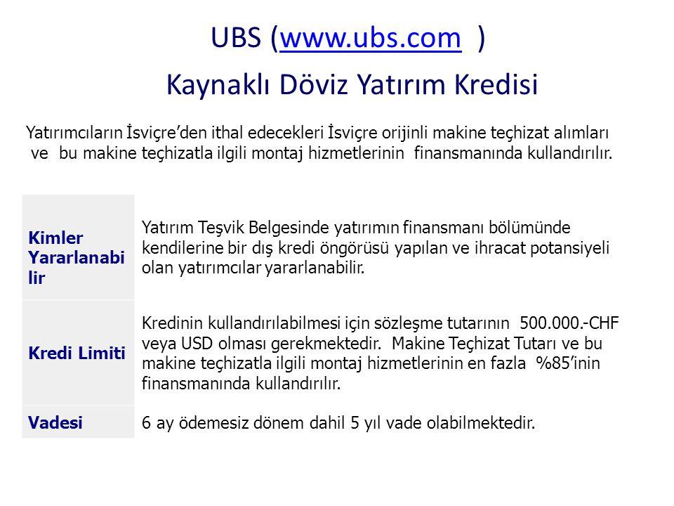 UBS (www.ubs.com ) Kaynaklı Döviz Yatırım Kredisi