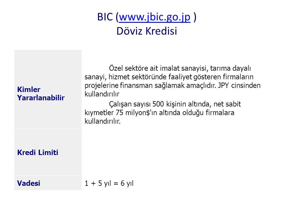 BIC (www.jbic.go.jp ) Döviz Kredisi