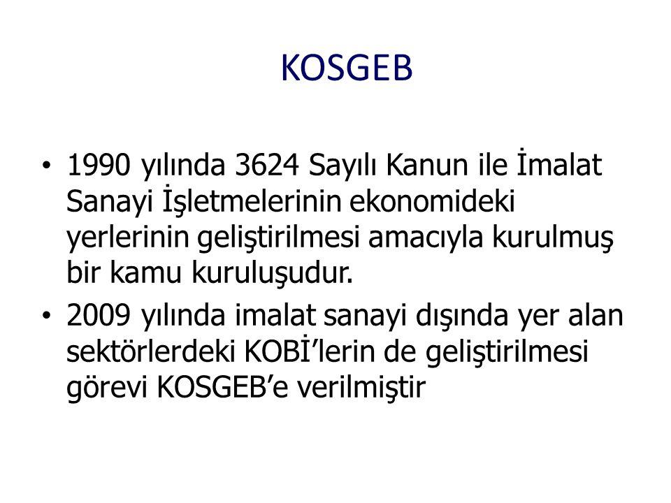 KOSGEB 1990 yılında 3624 Sayılı Kanun ile İmalat Sanayi İşletmelerinin ekonomideki yerlerinin geliştirilmesi amacıyla kurulmuş bir kamu kuruluşudur.
