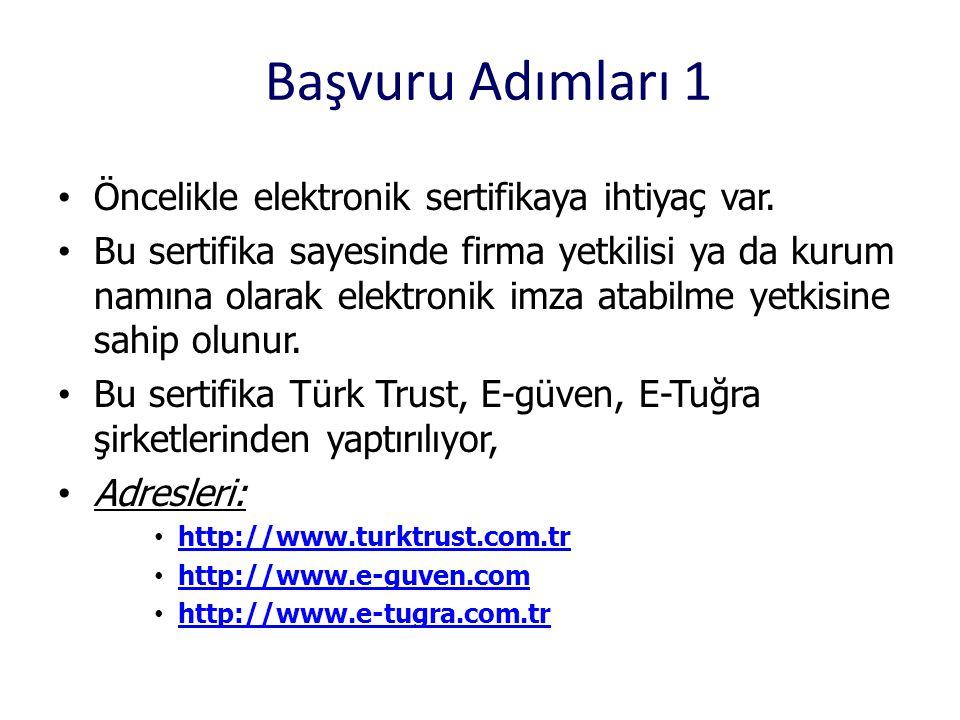 Başvuru Adımları 1 Öncelikle elektronik sertifikaya ihtiyaç var.