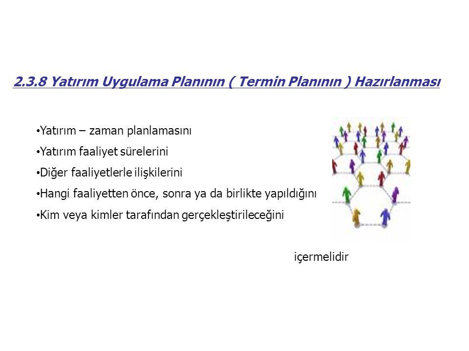 2.3.8 Yatırım Uygulama Planının ( Termin Planının ) Hazırlanması