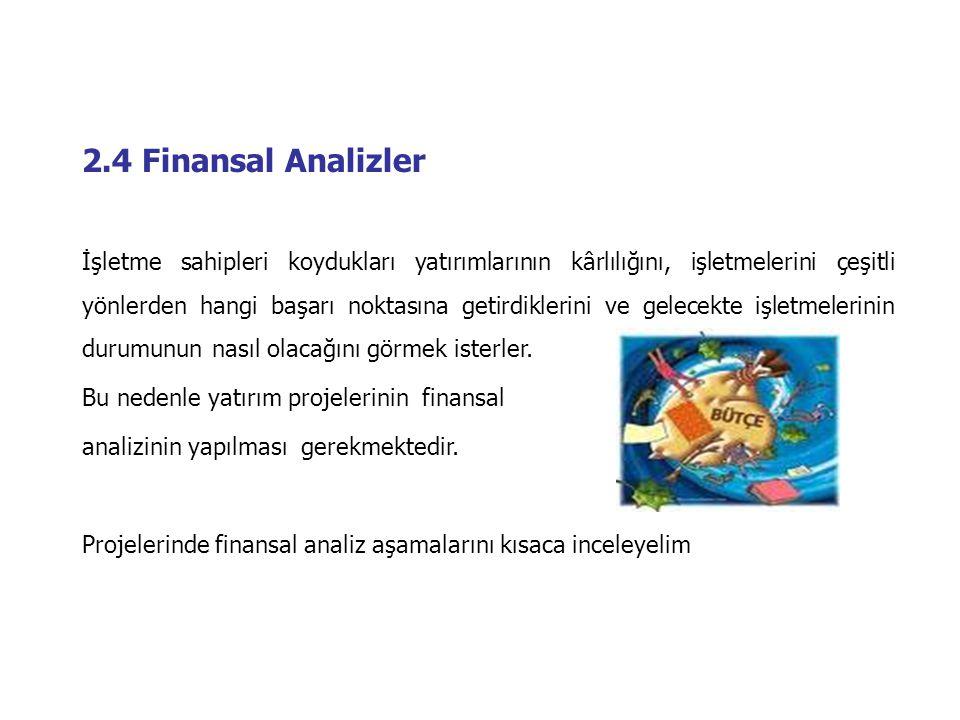 2.4 Finansal Analizler