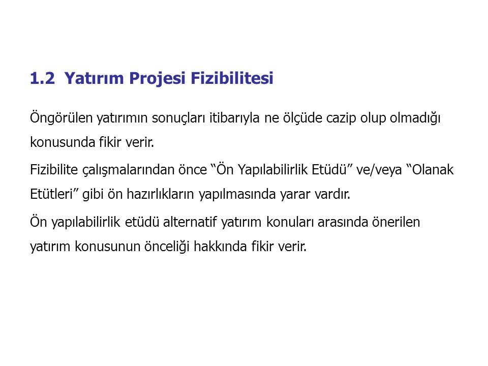1.2 Yatırım Projesi Fizibilitesi
