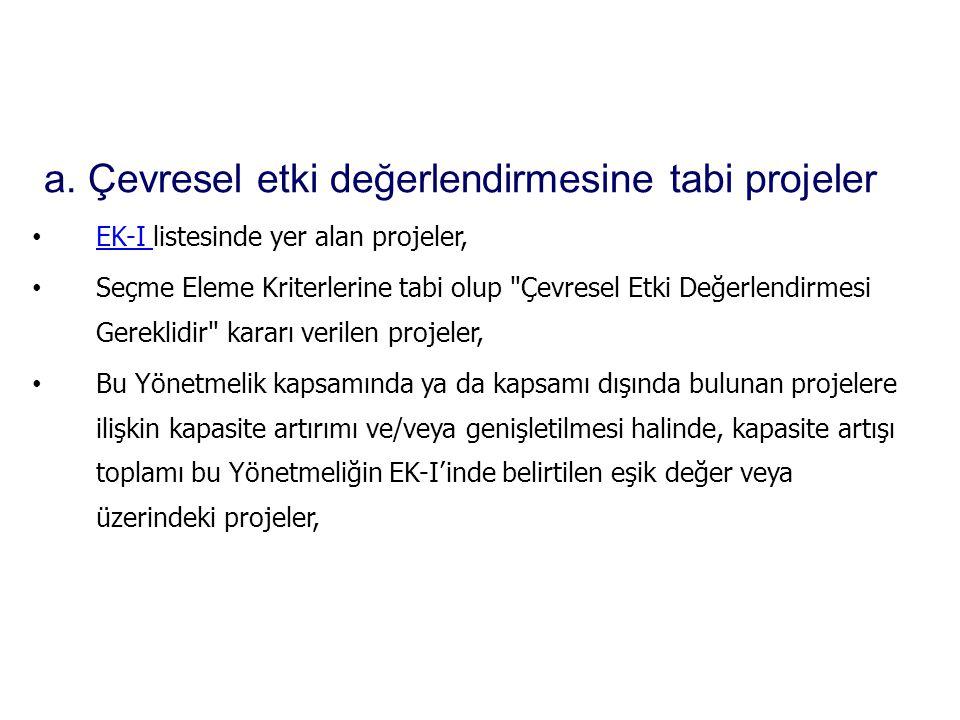 a. Çevresel etki değerlendirmesine tabi projeler